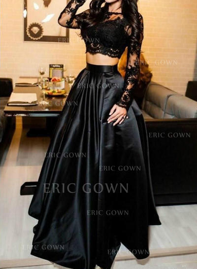 A-Line/Princess Scoop Neck Floor-Length Satin Prom Dresses (018217294)