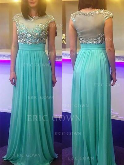 A-Line/Princess Scoop Neck Sweep Train Chiffon Evening Dresses With Beading (017217035)