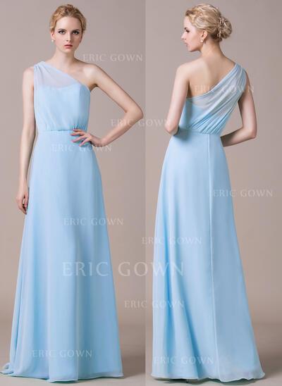 A-Line/Princess One-Shoulder Floor-Length Chiffon Bridesmaid Dress With Ruffle (007059452)