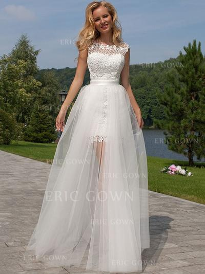 A-Line/Princess Tulle Lace Sleeveless Scoop Floor-Length Wedding Dresses (002144817)