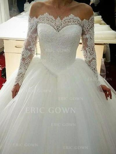 Ball-Gown Off-The-Shoulder Chapel Train Wedding Dresses With Lace (002219366)