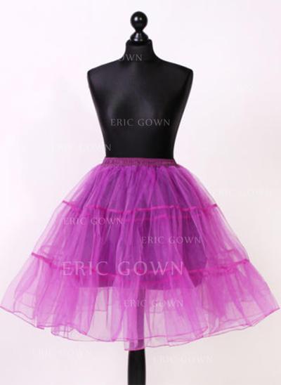 Bustle Knee-length Tulle Netting/Satin Half Slip 2 Tiers Petticoats (037190859)