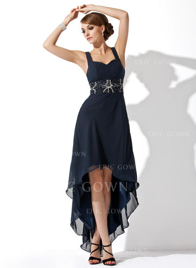 A-Line/Princess Sweetheart Asymmetrical Homecoming Dresses With Ruffle Beading (022213912)