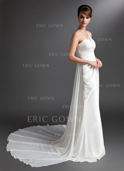 Beautiful One Shoulder Sheath/Column Wedding Dresses Watteau Train Chiffon Sleeveless (002196874)