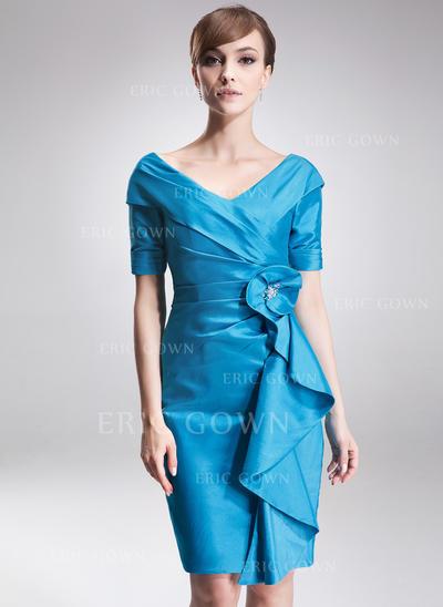 Sheath/Column Taffeta Short Sleeves Off-the-Shoulder Knee-Length Zipper Up Mother of the Bride Dresses (008006275)