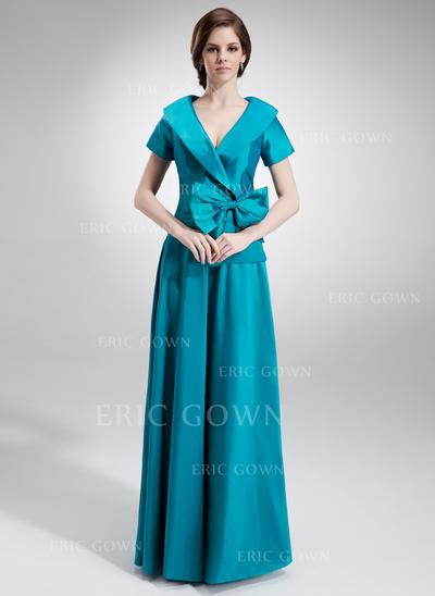 A-Line/Princess Taffeta Short Sleeves V-neck Floor-Length Zipper Up Mother of the Bride Dresses (008006023)