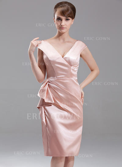 Sheath/Column Charmeuse Sleeveless V-neck Knee-Length Zipper Up Mother of the Bride Dresses (008005613)