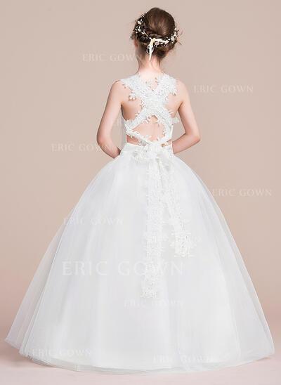 Ball Gown Floor-length Flower Girl Dress - Satin/Tulle Sleeveless Square Neckline (010106127)