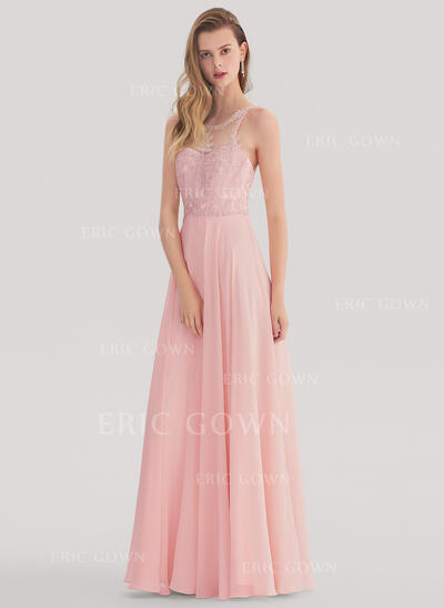 A-Line/Princess Scoop Neck Floor-Length Chiffon Prom Dresses With Beading (018138342)