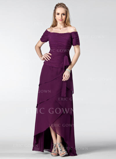 A-Line/Princess Chiffon Short Sleeves Off-the-Shoulder Asymmetrical Zipper Up Mother of the Bride Dresses (008003182)