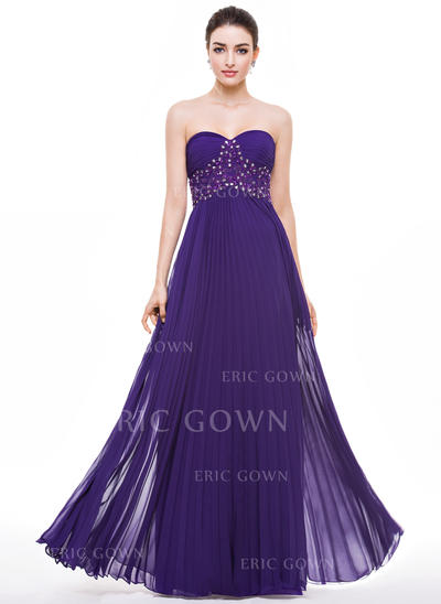 A-Line/Princess Sweetheart Floor-Length Prom Dresses With Beading Appliques Lace Sequins Pleated (018056790)
