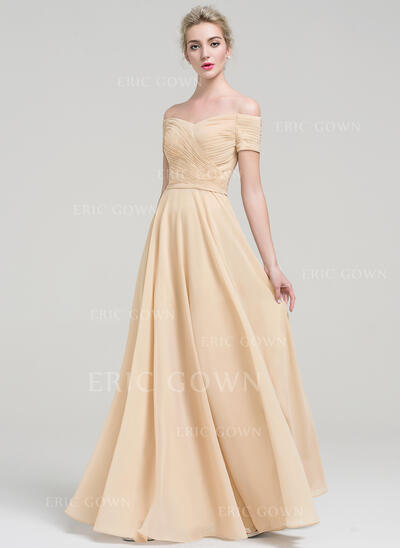 A-Line/Princess Off-the-Shoulder Floor-Length Chiffon Evening Dress With Ruffle (017093454)