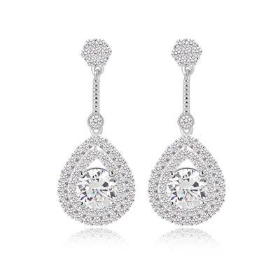 Earrings Zircon/Platinum Plated Pierced Ladies' Unique Wedding & Party Jewelry (011164934)