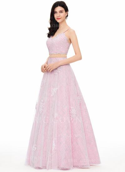 Ball-Gown V-neck Floor-Length Tulle Evening Dress (017154039)