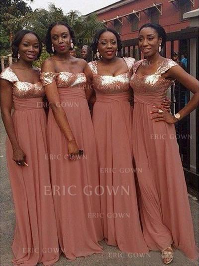 A-Line/Princess Sweetheart Floor-Length Bridesmaid Dresses With Ruffle (007145018)
