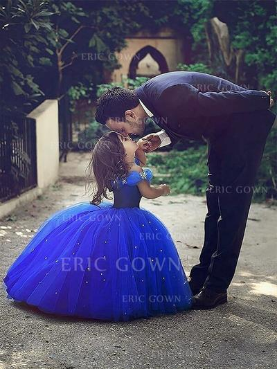 Fashion Off-the-Shoulder Ball Gown Flower Girl Dresses Floor-length Tulle Sleeveless (010145257)