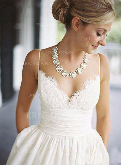 Magnificent V-neck A-Line/Princess Wedding Dresses Floor-Length Sweep Train Taffeta Sleeveless (002148522)