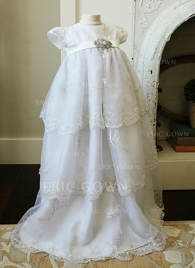 A-Line/Princess Scoop Neck Floor-length Tulle Christening Gowns With Lace Rhinestone (2001218018)