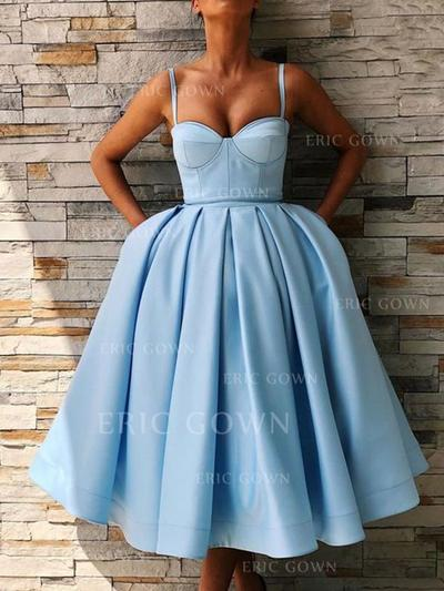 Ball-Gown Sweetheart Tea-Length Homecoming Dresses With Ruffle (022219406)