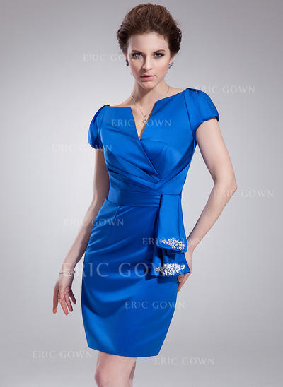Sheath/Column V-neck Knee-Length Satin Cocktail Dresses With Ruffle Beading (016021234)