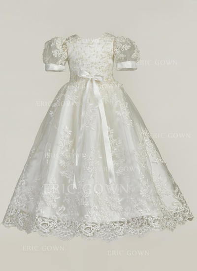 A-Line/Princess Scoop Neck Floor-length Lace Christening Gowns With Bow(s) (2001216840)
