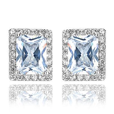 Earrings Zircon/Platinum Plated Pierced Ladies' Classic Wedding & Party Jewelry (011166734)