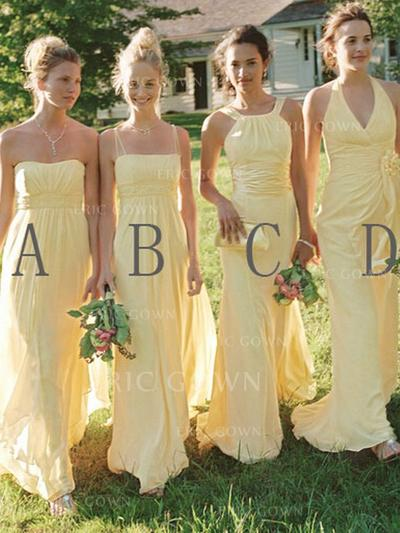A-Line/Princess Sweetheart Halter Scoop Neck Square Neckline Floor-Length Bridesmaid Dresses With Ruffle (007145019)