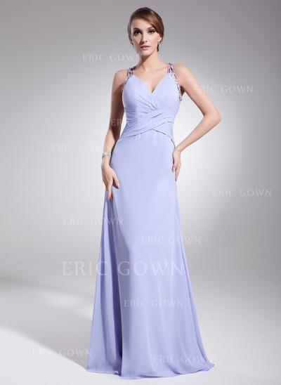 A-Line/Princess V-neck Floor-Length Evening Dresses With Ruffle Beading (017014573)