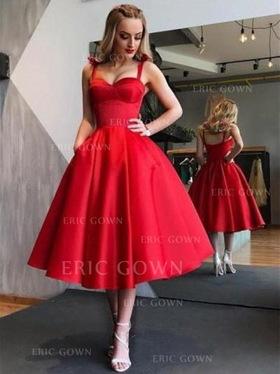 A-Line/Princess Sweetheart Tea-Length Cocktail Dresses With Ruffle (016218454)