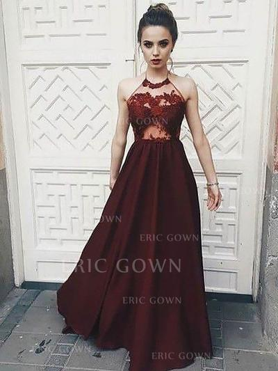 A-Line/Princess Halter Floor-Length Chiffon Evening Dresses With Appliques Lace (017217170)
