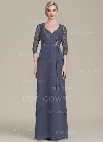 A-Line/Princess V-neck Floor-Length Chiffon Lace Mother of the Bride Dress With Beading Cascading Ruffles (008102686)