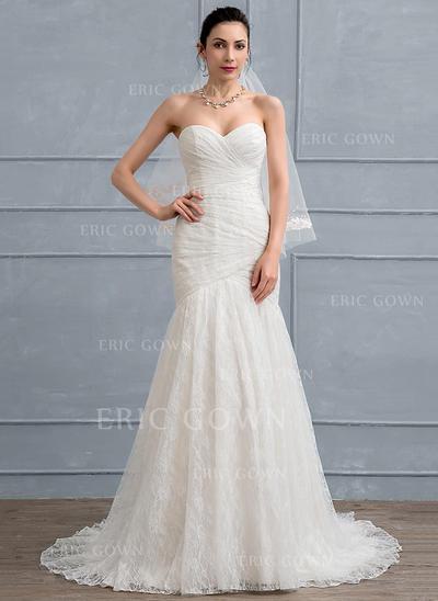 Trumpet/Mermaid Sweetheart Sweep Train Lace Wedding Dress With Ruffle (002111948)