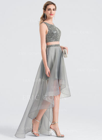 A-Line Scoop Neck Asymmetrical Organza Prom Dresses (018147845)