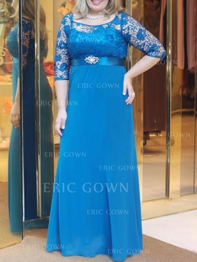 A-Line/Princess Chiffon 1/2 Sleeves Scoop Neck Floor-Length Zipper Up Mother of the Bride Dresses (008212743)