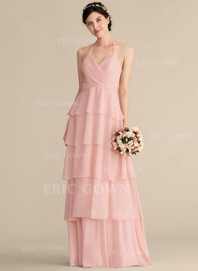A-Line/Princess Sweetheart Floor-Length Chiffon Bridesmaid Dress With Cascading Ruffles (007165823)
