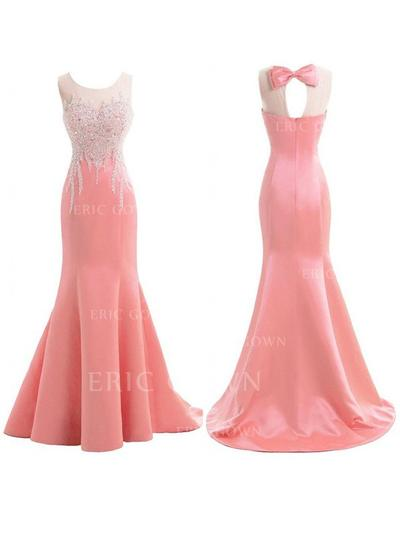 Trumpet/Mermaid Satin Bridesmaid Dresses Ruffle Beading Scoop Neck Sleeveless Sweep Train (007211587)