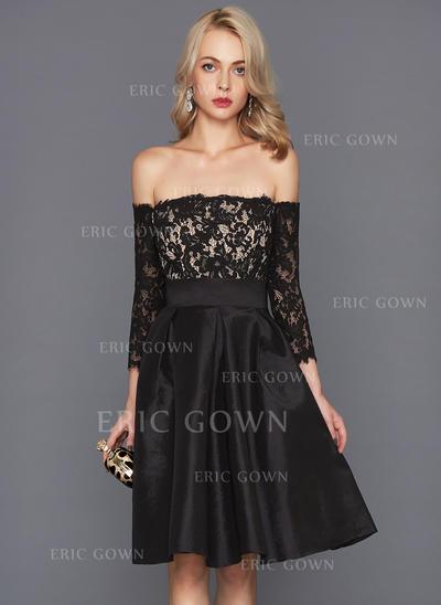 A-Line/Princess Off-the-Shoulder Knee-Length Taffeta Cocktail Dress (016124554)