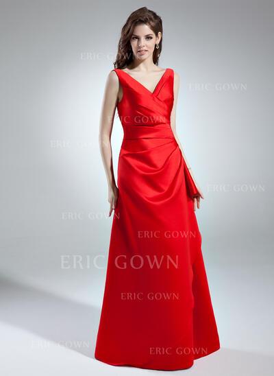 A-Line/Princess V-neck Floor-Length Satin Bridesmaid Dress With Ruffle (007004570)