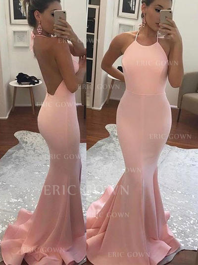 Trumpet/Mermaid Halter Sweep Train Prom Dresses (018145991)