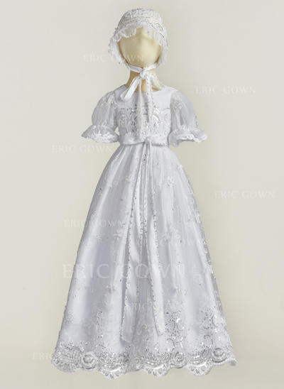 A-Line/Princess Scoop Neck Floor-length Tulle Lace Christening Gowns With Beading (2001216832)