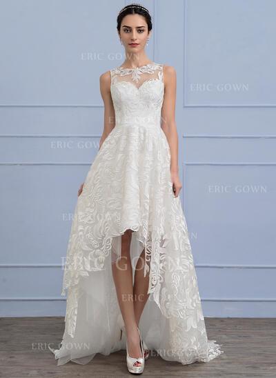 A-Line Scoop Neck Asymmetrical Lace Wedding Dress (002107816)