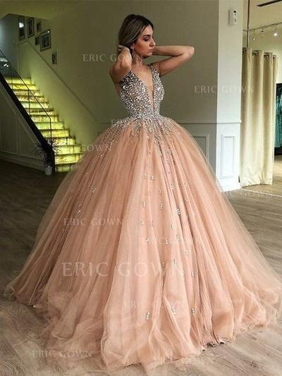 Ball-Gown V-neck Sweep Train Prom Dresses With Beading (018218657)