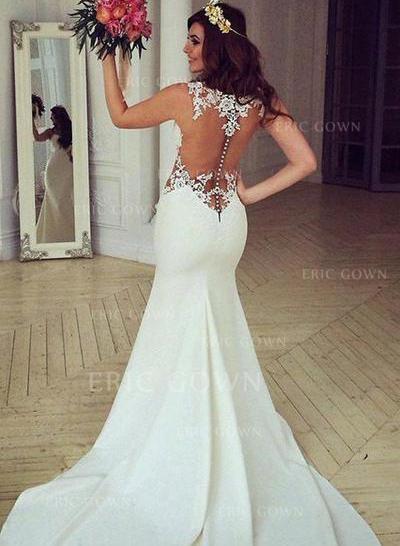 Trumpet/Mermaid Satin Sleeveless Scoop Chapel Train Wedding Dresses (002144927)