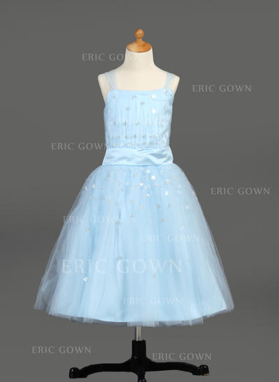 A-Line/Princess Tea-length With Ruffles/Sequins Satin/Tulle Sleeveless Flower Girl Dresses (010005913)