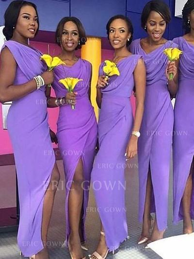 Sheath/Column Chiffon Bridesmaid Dresses Cowl Neck Sleeveless Floor-Length (007211702)
