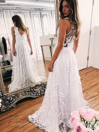 Deep V Neck A-Line/Princess Wedding Dresses Tulle Appliques Lace Sleeveless Sweep Train (002213520)