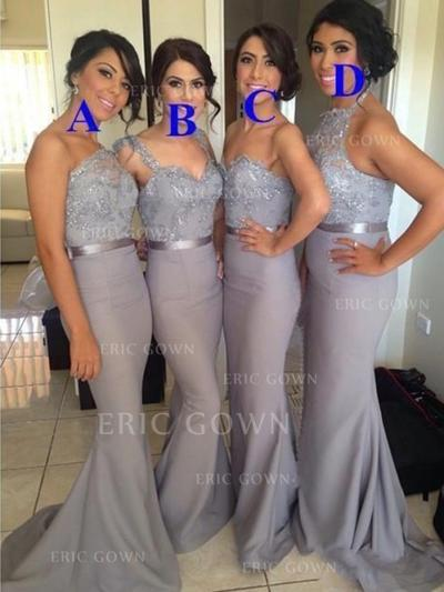 Trumpet/Mermaid Sweetheart One-Shoulder Halter Sweep Train Bridesmaid Dresses With Lace Sash (007218572)