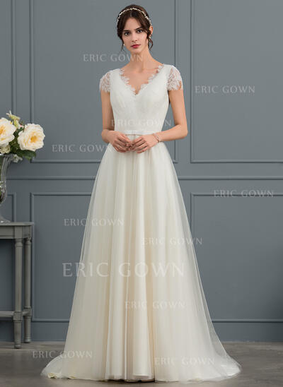 A-Line V-neck Sweep Train Tulle Wedding Dress With Bow(s) (002153440)