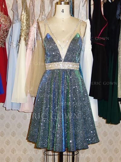 A-Line/Princess V-neck Short/Mini Homecoming Dresses With Sash Beading (022216238)