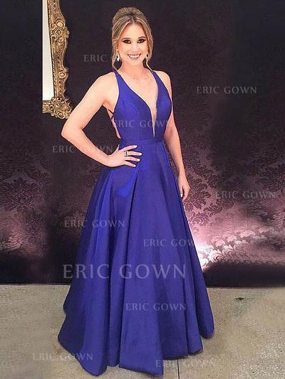 A-Line/Princess V-neck Floor-Length Satin Evening Dresses With Ruffle (017217204)